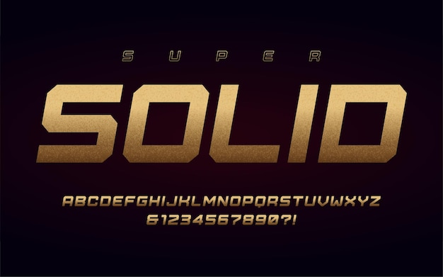 San serif uppercase letters and numbers, alphabet with effect of the gold foil.