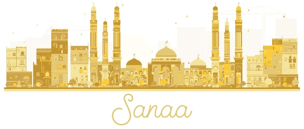 Sanaa city 스카이라인의 황금빛 실루엣. 벡터 일러스트 레이 션. 관광 프레젠테이션, 배너, 현수막 또는 웹 사이트를 위한 단순한 평면 개념입니다. 비즈니스 여행 개념입니다. 랜드마크가 있는 도시 풍경.