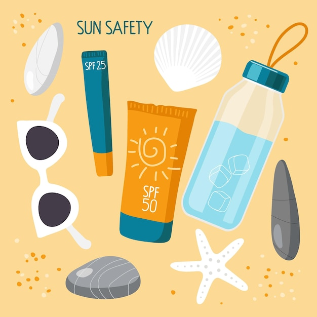 On sand are sea stones shells and everything necessary for health on beach sun safety