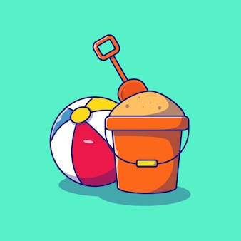 Sand bucket and beach ball summer flat vector illustration isolated. summer icon concept isolated.