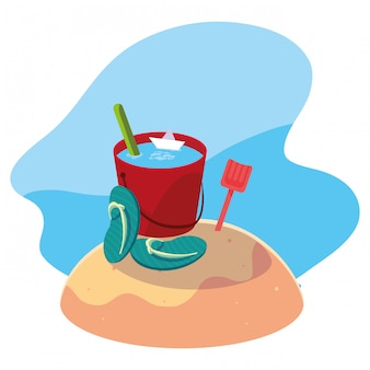 Sand bucket in the beach