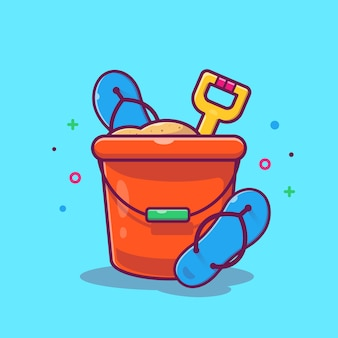 Sand bucket and flip flops illustration. summer beach. holiday concept isolated