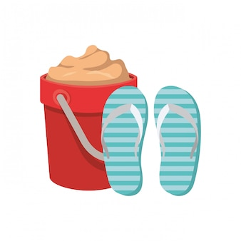 Sand bucket with slipper on white
