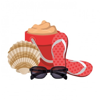 Sand bucket with sunglasses on white