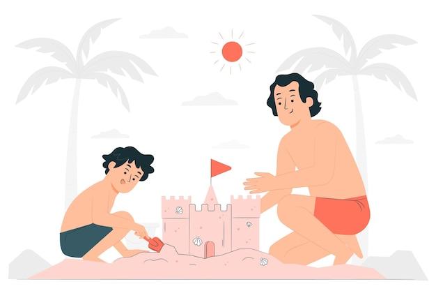 Illustrazione di concetto del castello di sabbia
