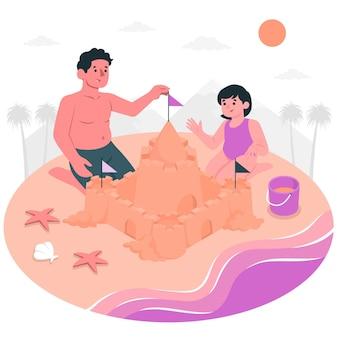 Sand castleconcept illustration