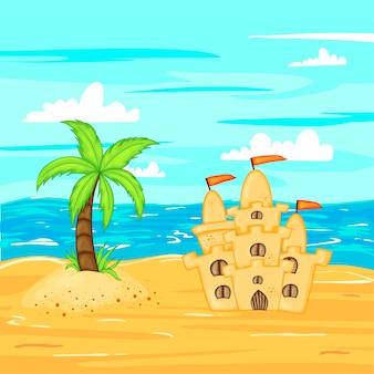 水辺のビーチの砂の城