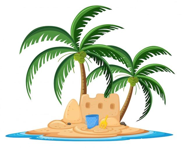 Замок из песка на тропическом острове