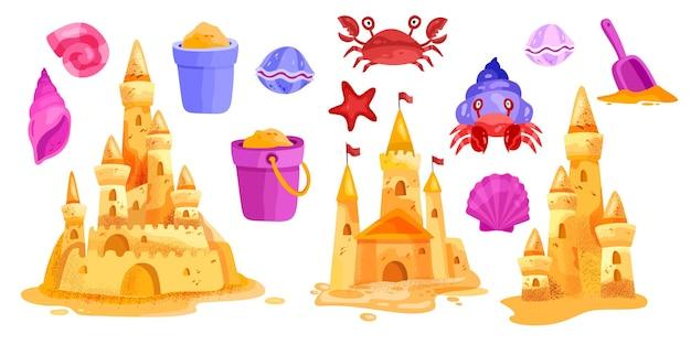 Замок из песка, летний пляж, коллекция иллюстраций, башни, морская звезда, ведро, лопата, краб