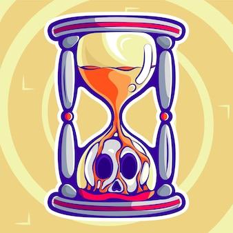 Sand clock cartoon illustration premium vector