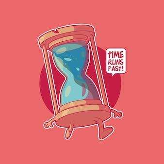 Песочные часы персонаж работает векторные иллюстрации мотивация время вдохновение концепция дизайна