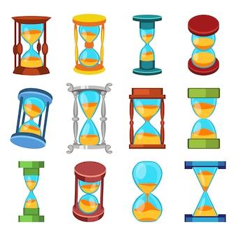 Sand clocks vector set