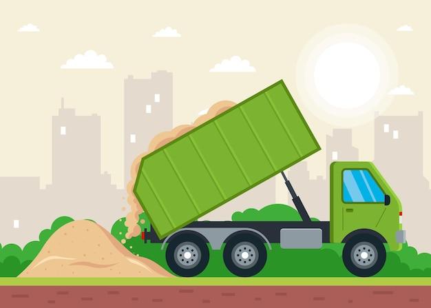 トラックによる砂の配達。地面への土の発疹。フラットベクトルイラスト。