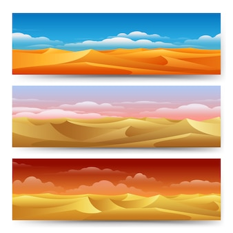 Sand dunes panoramic illustrations set