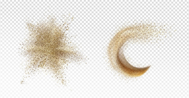 Sand explosion, sandy splash, scatter grains stain or stroke and wave isolated on transparent