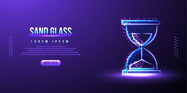 砂、ガラス、プロセス低ポリワイヤーフレームメッシュデザイン