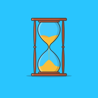 Sand hourglass  icon illustration. sandglass icon. sand timer. hourglass clock