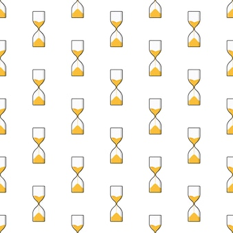 Sand hourglass seamless pattern on a white background. timer theme vector illustration