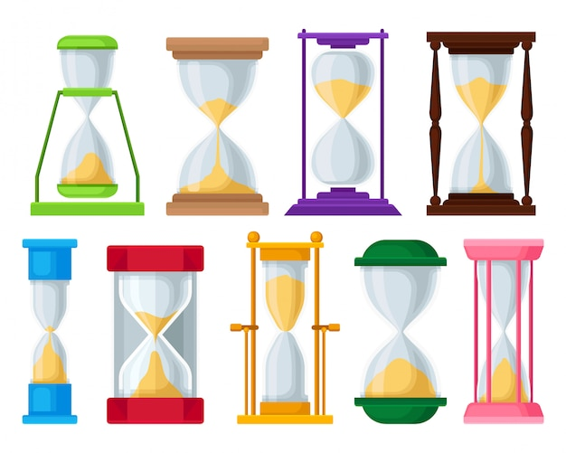 Sand hourglass set, sandglass devices for measuring time  illustrations on a white background