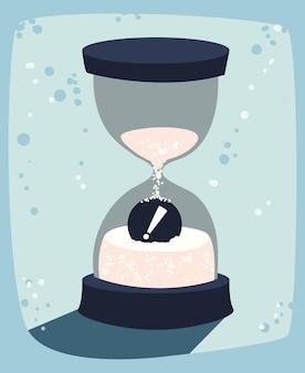 Песочные часы с восклицательной кнопкой