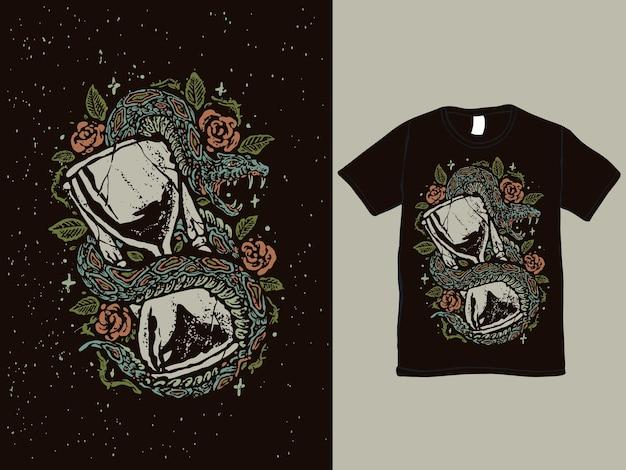 Винтажный дизайн футболки в стиле татуировки песка времени и змеи