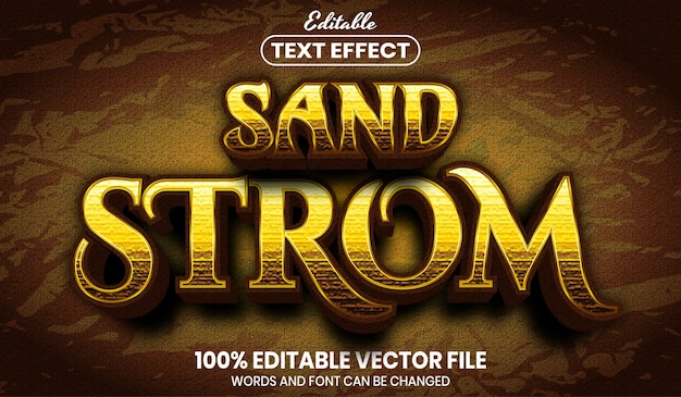 Sand strom text, editable text effect