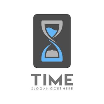 Sand time clock logo design template