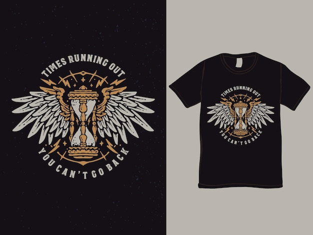 The sand of time with wings tshirt design