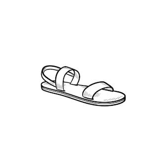 サンダル手描きアウトライン落書きアイコン。夏と休暇、休日のスリッパと快適な散歩のコンセプト