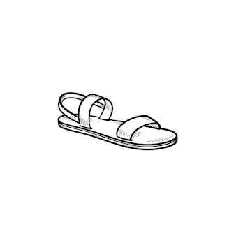 Sandal hand drawn outline doodle icon. summer and vacation, holidays slippers and comfort walk concept