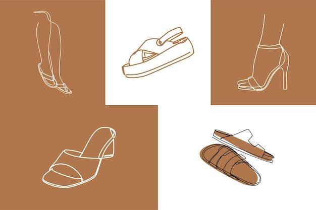 Sandals leg oneline art premium vector