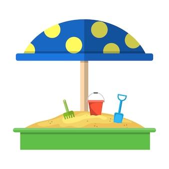 赤い点線の傘アイコンと砂場