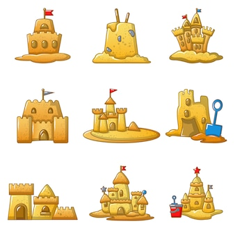 Sandcastle beach icons set