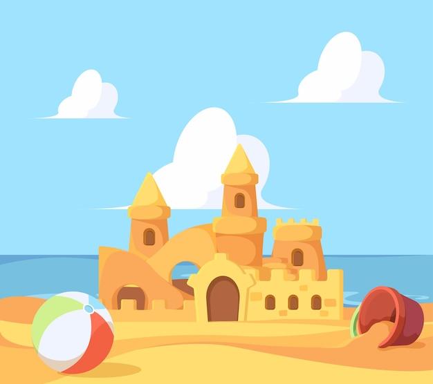 해변의 모래성. 바다 성 및 요새 벡터 만화 배경 근처의 모래에서 아름다운 여름 건물. 그림 모래 성, 바다 근처 현실적인 모래성