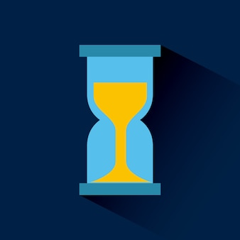 Sandclock icon over blue background.
