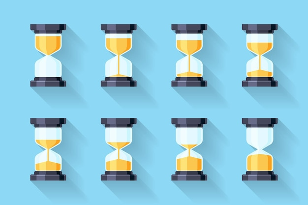 Sandglass flat icons. sandglass animation frames.