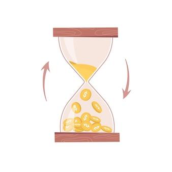 모래시계 또는 모래시계 카운트다운 시간과 돈