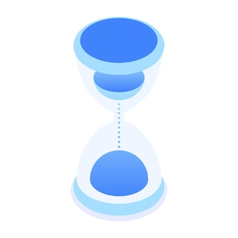 Sandglass timer vector icon in isometric style isolated on white background