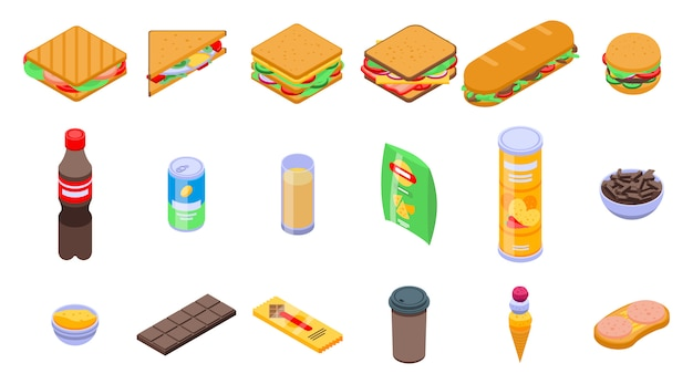 Sandwich bar icons set, isometric style
