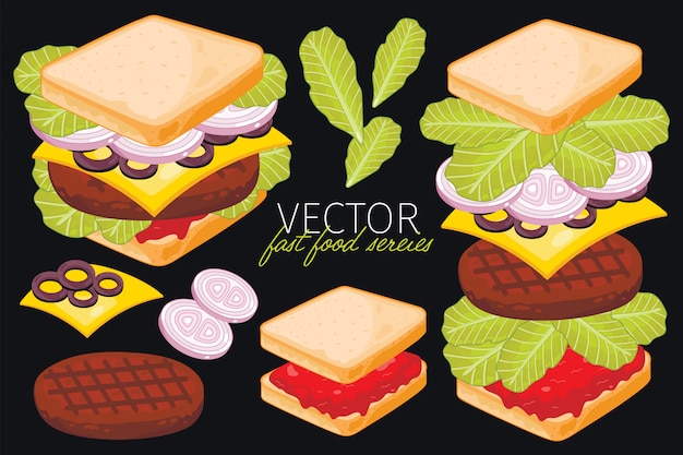 Sandwich on black background.