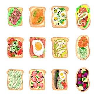Sandwich breakfast toast set bread slices toasted crust sandwich with butter fried flat cartoon sandwich meat, fish, egg and butter illustration