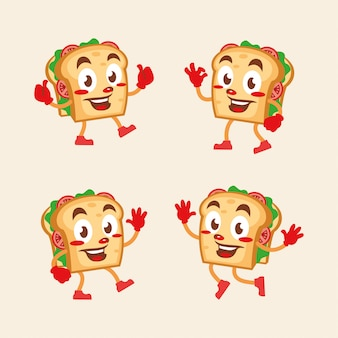 Sandwich cartoon character fun mascot