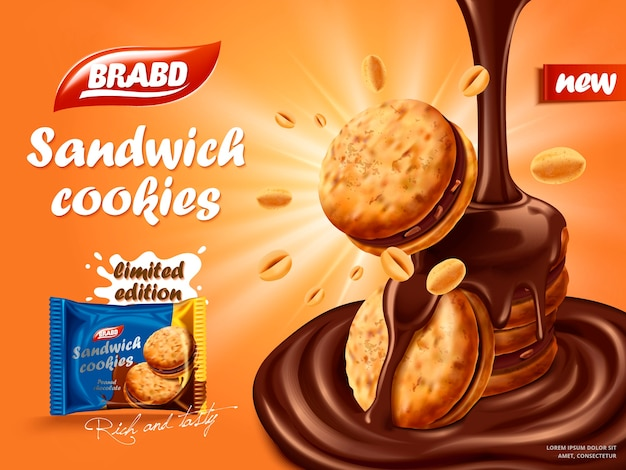 Sandwich chocolate cookies ad, flowing chocolate with cookies and nuts element, biscuit package design