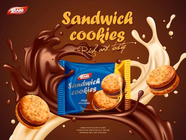 Реклама сэндвич-печенья, аромат молочного шоколада с вкусной жидкостью, закрученной в воздухе, и упаковка посередине на трехмерной иллюстрации