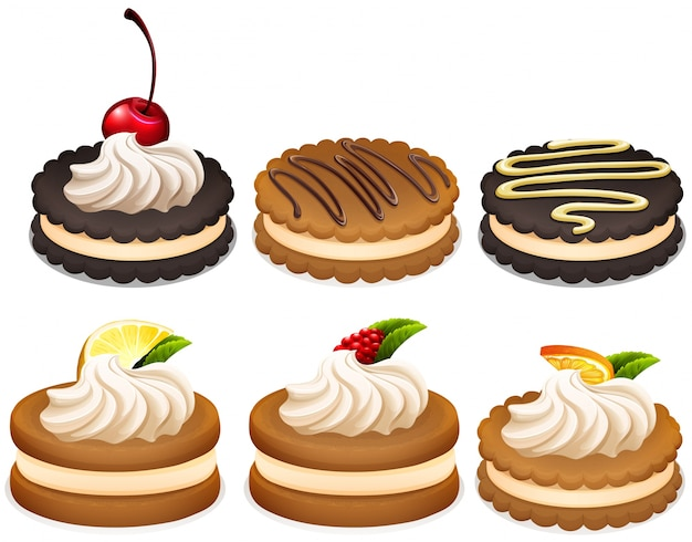 Sandwich cookies with cream illustration
