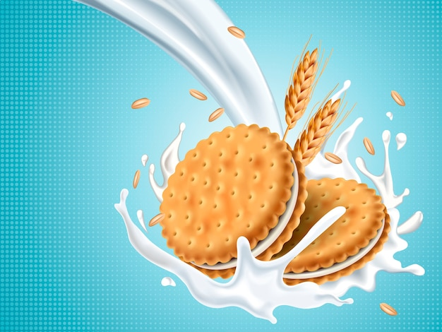 Sandwich cookies with pouring white fluid isolated light blue background