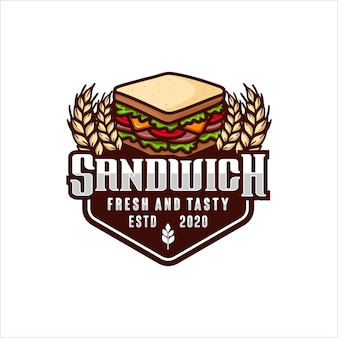 Sandwich fresh and tasty vector design logo