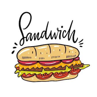 サンドイッチ手描き