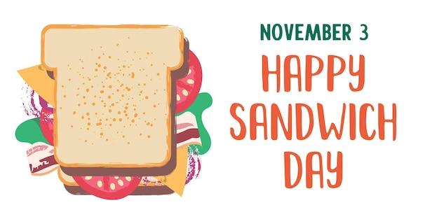 サンドイッチ。幸せなサンドイッチの日。フラット漫画スタイルのベクトル面白いイラスト。白い背景で隔離。