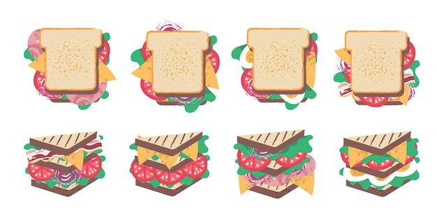 Сэндвич счастливый день сэндвича векторные забавные иллюстрации в плоском мультяшном стиле